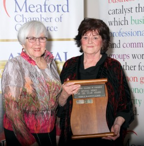 Mary Bryant accepting the Special Merit Award on behalf of Second Harvest- Sponsored by The Municipality of Meaford, presented by Mayor Barb Clumpus