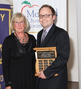 Andrew Renken accepting the Peter Francis Memorial Award on behalf of Brian Renken- Sponsored by the Meaford Chamber of Commerce, presented by Vice-President Liz Harris